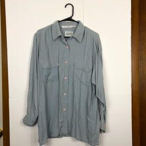 Vintage 100% Silk Button Down Blouse Sz L